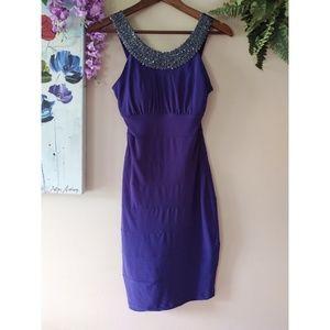 Jackie Jon NY Blue Beaded Collar Prom Dress